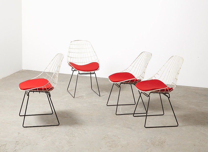 SOLD Cees Braakman Set of 4 SM05 Dining Chairs Pastoe 1958