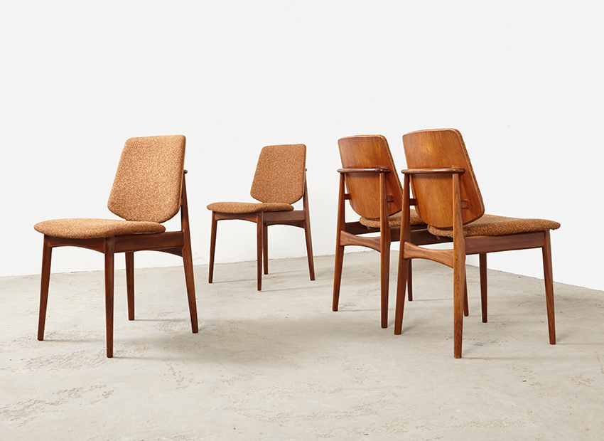 SOLD Mahjongg Set of 4 Teak Dining Chairs 1960s