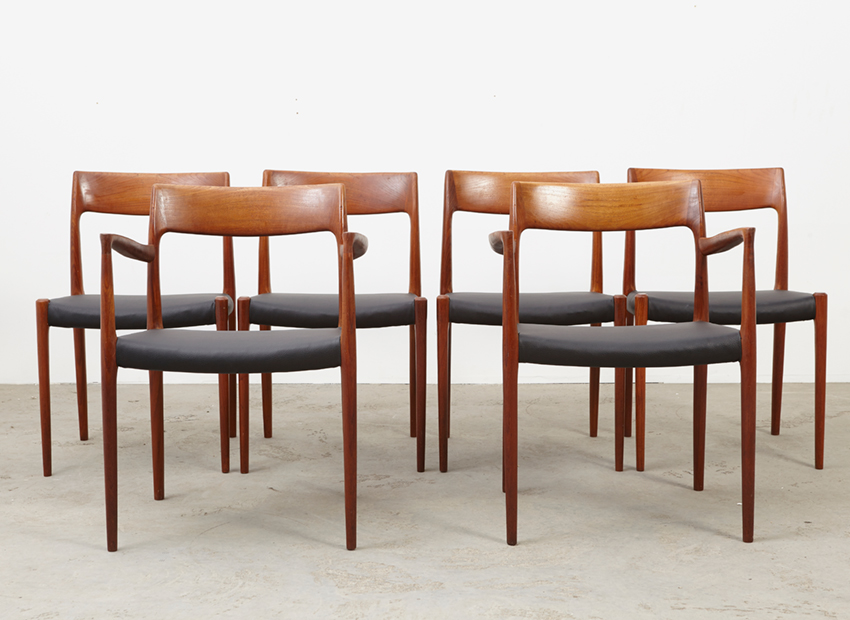SOLD N.O.Moller Set of 6 Dining Chairs Model 57 + 77 J.L Mollers 1959