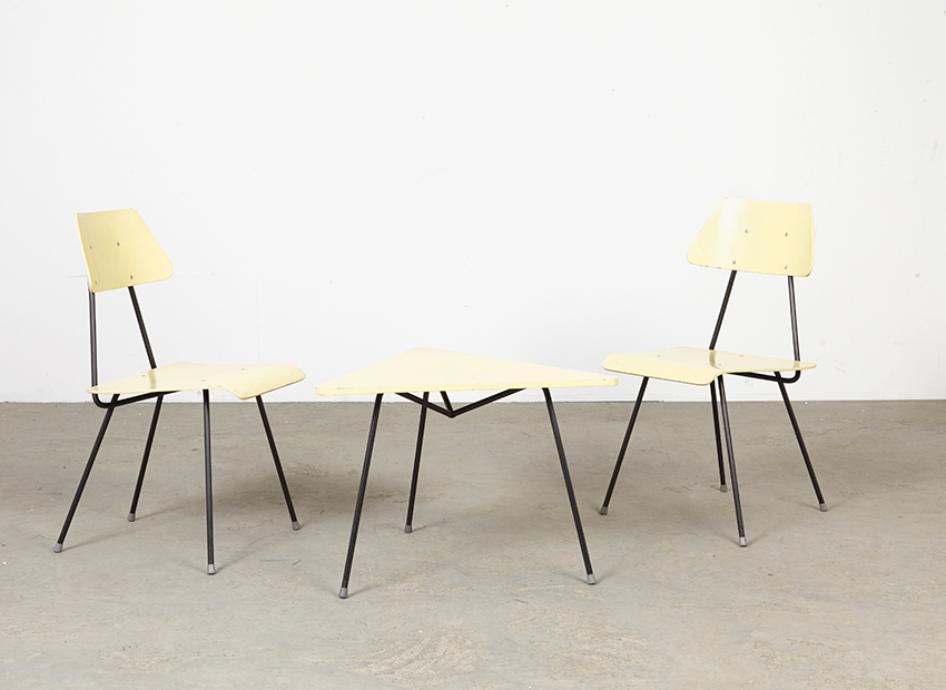 SOLD Rob Parry (Attrib) Set of. 2 Chairs + Table Dico 1956