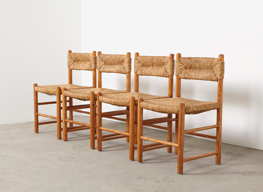 SOLD Charlotte Perriand Set of 4 Dining Chairs Sentou France 1960s