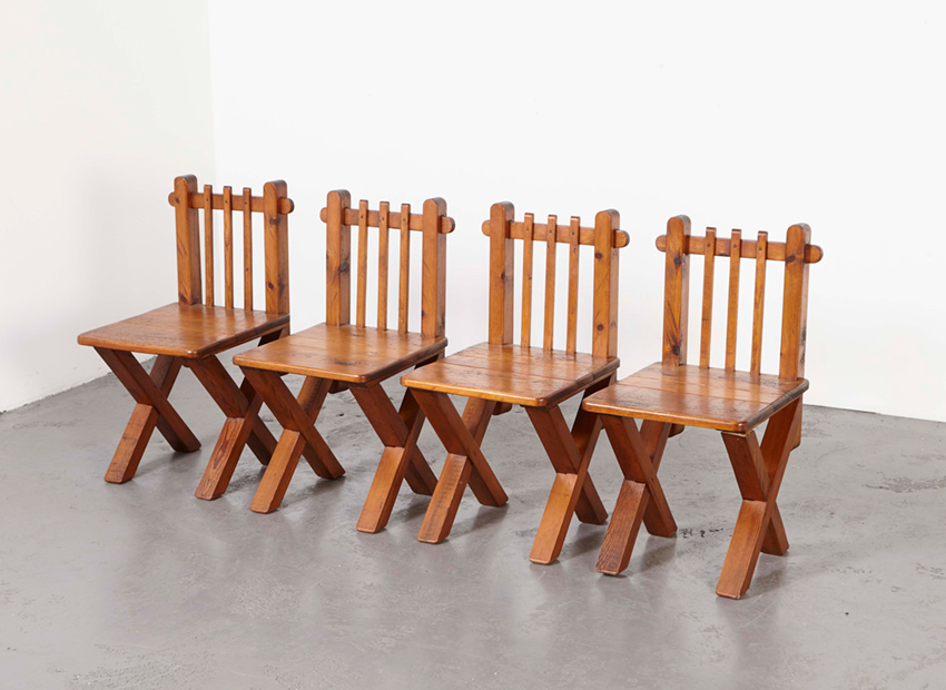SOLD Set of 4 Modernsit Church Chairs 1950s