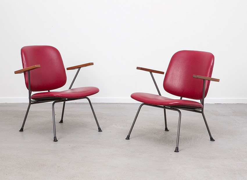 SOLD W.H. Gispen 2 X Easy Chairs Kembo 50s