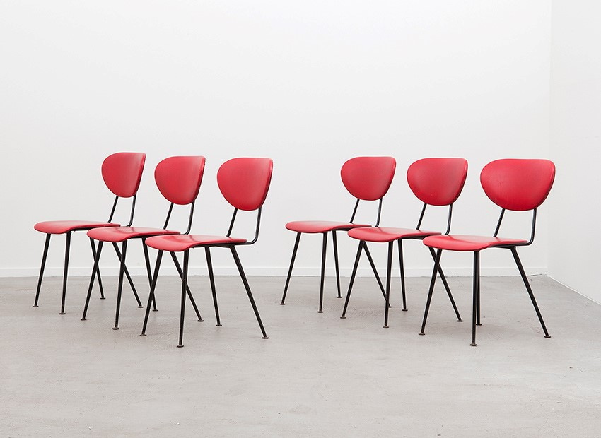 SOLD W.H. Gispen 6 X Kembo Chairs Kembo 50s