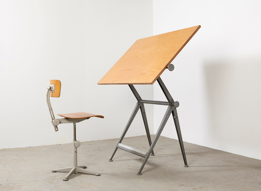 SOLD Friso Kramer Drafting Table + Working Chair Ahrend de Cirkel 1963